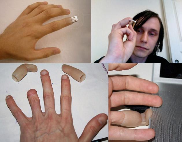 El caso más extremo e ingenioso de memoria externa personalizada: el dedo USB