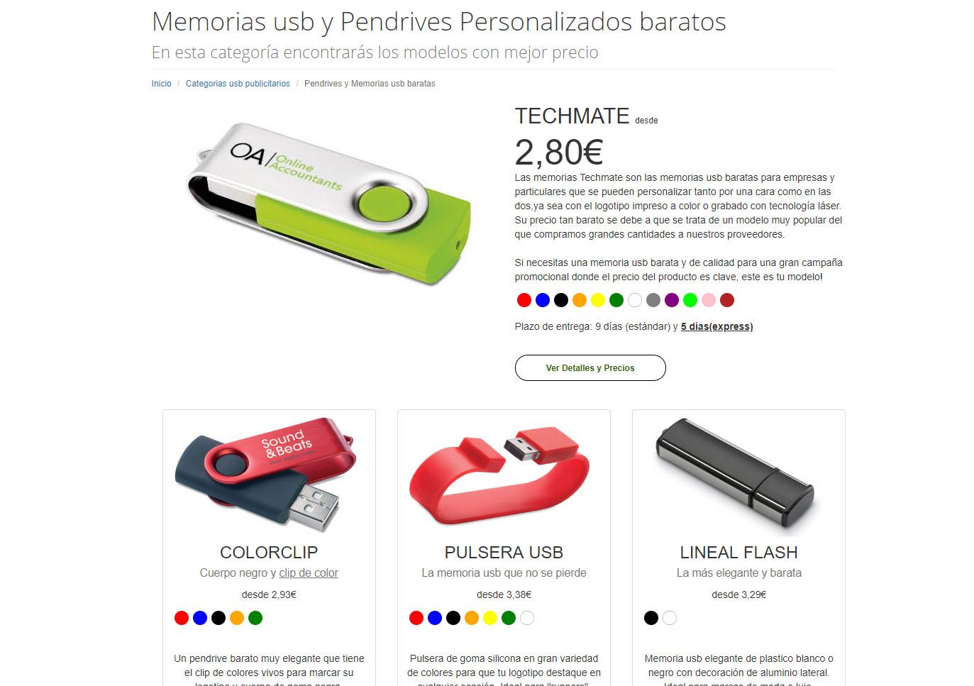 Memorias usb de 1GB, 2GB, 4GB y 8GB para el mercado promocional