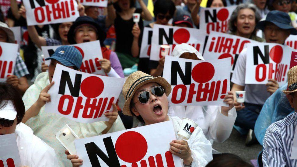 Manifestaciones conflicto Corea y Japón