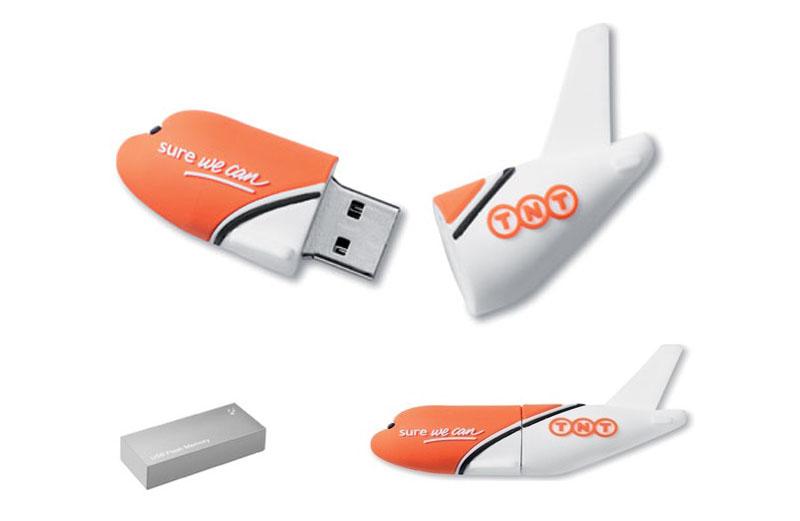 Memoria usb publicitaria en forma de avión