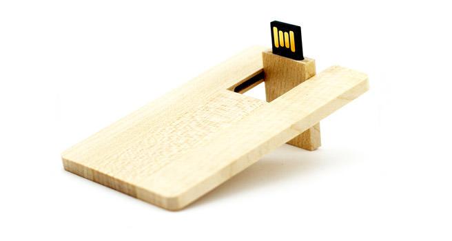 Tarjeta usb publicitaria de madera