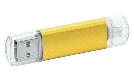 USB personalizables metal color amarillo