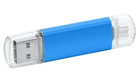 Memorias USB metal promocionales color azul