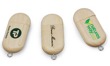 pendrive personalizado de madera ovalado