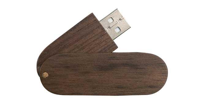 memoria usb madera giratorio