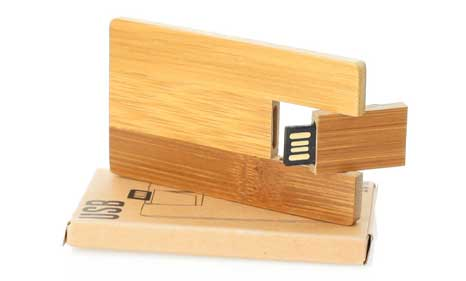Tarjeta USB de bambú promocional
