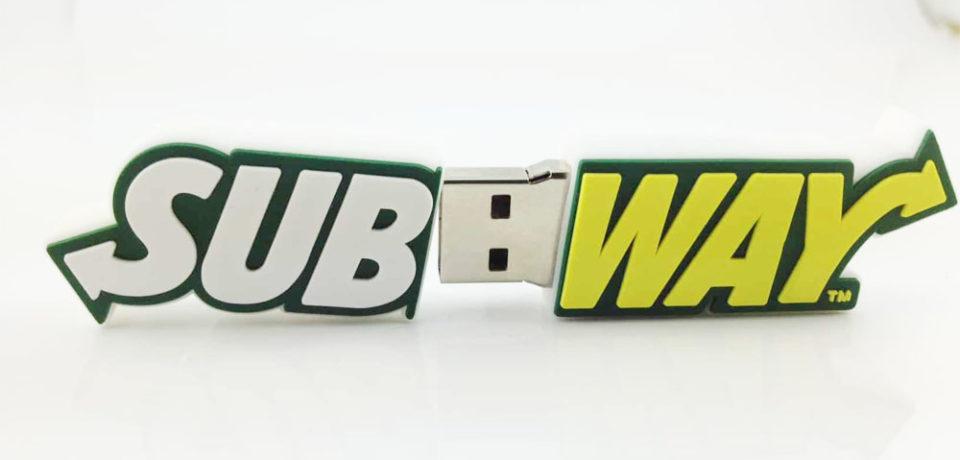 Pendrive corporativo con formas empresa Subway